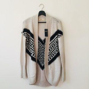 Hollister | Cream & Black Aztec Design Cardigan